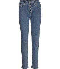 high rise slim pant slimmade jeans blå calvin klein
