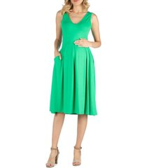 24seven comfort apparel fit and flare sleeveless maternity midi dress with pockets