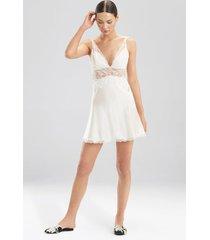 sleek lace chemise pajamas / sleepwear / loungewear, women's, white, silk, size l, josie natori