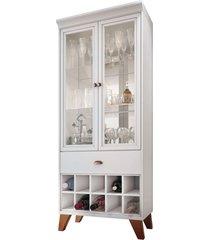 cristaleira bar com nicho adega sala de estar andorra branco - gran belo