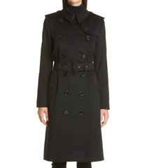 burberry kensington cashmere trench coat, size 14 in black at nordstrom