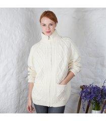 women's aran zipper cardigan cream xl