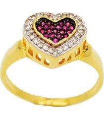 anel la madame co coração pink dourado