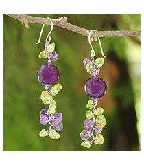 peridot and amethyst beaded earrings, 'spring iris' (thailand)