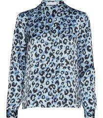 2nd lova leopard blouse lange mouwen blauw 2ndday