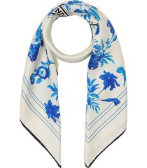burberry floral logo scarf - white