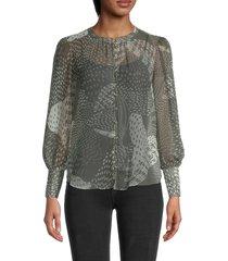 bb dakota women's dot pattern blouse - surplus grey - size xs