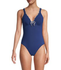 gottex women's rope-tie one-piece swimsuit - petrol - size 46 (16)