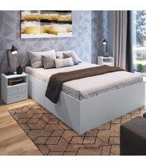 quarto completo casal 2 portas 2 gavetas cj044 branco - art in móveis