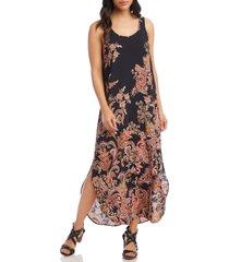 karen kane floral paisley side slit tank dress, size small in print at nordstrom