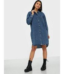 selected femme slfharper ls long fray blue denim s loose fit dresses