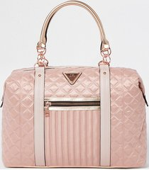 river island womens pink zip front quilted weekend bag