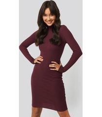 na-kd basic ribbed polo babylock dress - purple