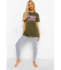 tall nap queen pyjama set met t-shirt en leggings, khaki