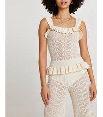 river island womens cream frill hem knitted tank top