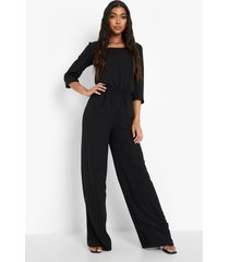 tall wide leg jumpsuit met driekwartsmouwen en lage ronde hals, black