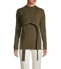 proenza schouler women's bikini-layer rib-knit sweater - dark olive - size l