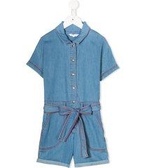 the marc jacobs kids short sleeved belted playsuit - blue