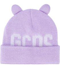 gcds logo print beanie - purple