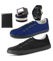 kit dois sapatênis de amarrar azul e preto masculino com carteira e cinto gorguráo mais relógio