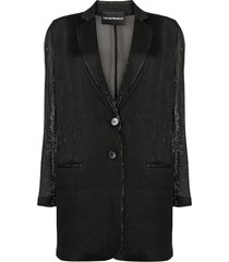 emporio armani semi-sheer metallic blazer - black