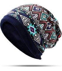 berretto da donna in cotone morbido etnico in velluto con berretto invernale