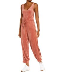 free people fp movement feel good velour jumpsuit, size large in desert heat at nordstrom