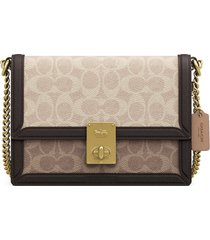 coach hutton coated canvas crossbody bag - beige