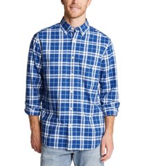 nautica men's blue sail classic-fit stretch plaid poplin shirt, created for macy's
