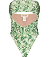 adriana degreas dahlia print strapless swimsuit - green
