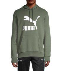 puma men's classics logo graphic hoodie - green - size l