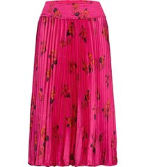 floral satin pleated midi skirt knälång kjol rosa banana republic