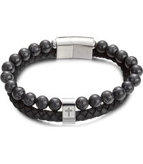 eye candy la women's luxe cross agate & titanium dual bracelet