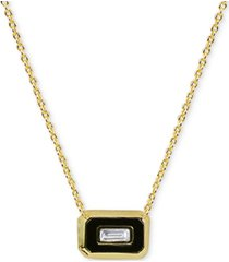 "argento vivo cubic zirconia & black enamel 18"" pendant necklace in 18k gold-plated sterling silver"