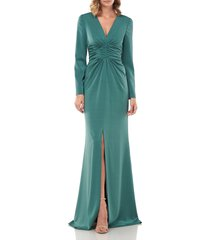 women's kay unger kayla long sleeve evening gown