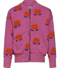 chocolate flower all over zipped sweatshirt sweat-shirt trui roze bobo choses