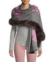 silver fox fur-trim wool-blend floral scarf