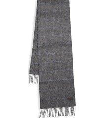 hickey freeman men's glen plaid cashmere scarf - grey black