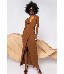 akira luxe ribbed long sleeve wrap midi dress