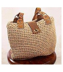 leather-accented crocheted shoulder bag, 'riviera' (mexico)