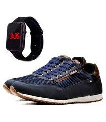 sapatênis casual com relógio led dubuy 1100la azul
