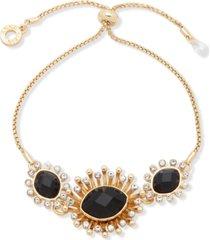 anne klein gold-tone stone slider bracelet