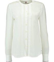vis pleated regular blouse ls