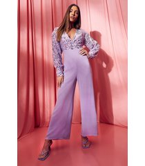 cullotte wikkel jumpsuit met pailletten, lilac