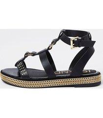 river island womens black gold chain flatform sandals