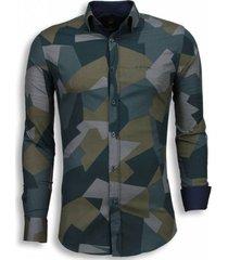 italiaanse overhemden - slim fit blouse - modern army pattern