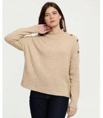 suéter canelado gola alta botões marisa feminino