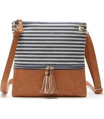 borsa a tracolla borsa in pelle pu a righe congiunte casual borsa per le donne