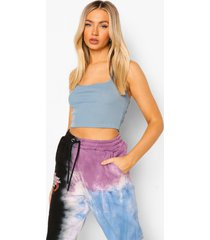 geribbelde crop top met halter neck, teal