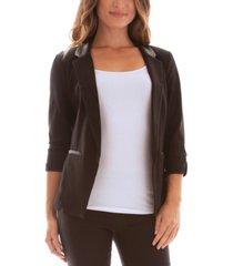bcx juniors' faux-leather-collar open-front jacket